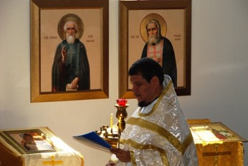 Fr Ignacio serves liturgy at the Vladimir icon of the Mother of God church<br/> in Coronado.