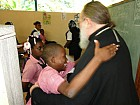 Haitian students greet Metropolitan Hilarion, First Hierarch of ROCOR.
