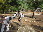 Volunteers building a classroom for the students of the parish school in Jacmel.