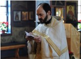 Fr. Rodion Aragon serves<br>liturgy at Holy Trinity Monastery<br>in Jordanville, NY.