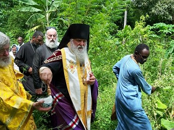 Bishop Michael blesses Haiti Mission's land in Jacmel, Haiti.