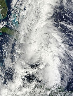 Hurricane Tomas over Haiti, Cuba, Jamaica.<br/>Photo: Nasa
