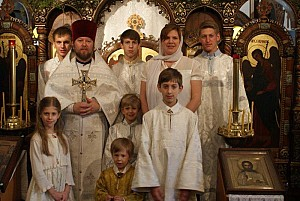 Antchoutine family in the church of the Intercession<br/> of the Theotokos in Glen Cove, NY.