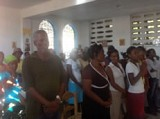 Members of St. John of<br> Shanghai parish in Les Cayes.