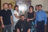 St. Nektarios parish members<br> in Santiago, Chile. <br>Fr. Alexei Aedo in the center